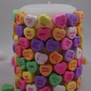 DIY Conversation Hearts Valentine's Day Candle