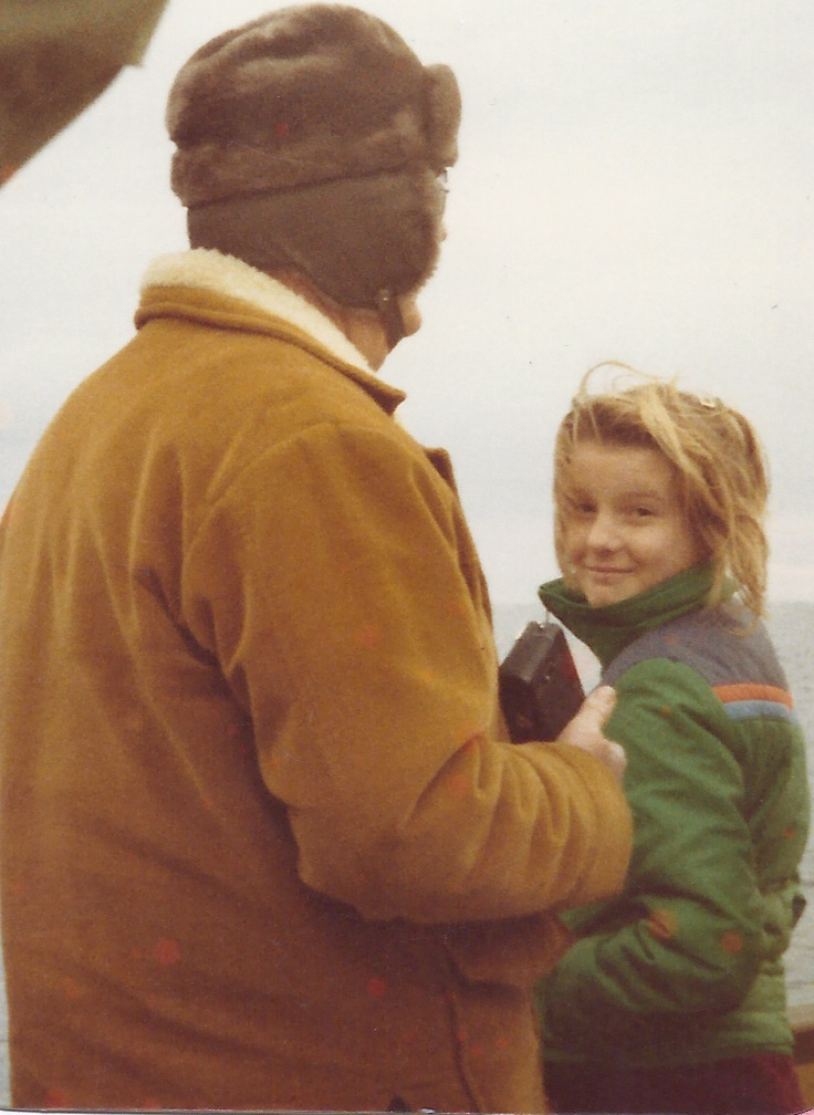 My first whale watching trip with my grandfather (facing backwards).