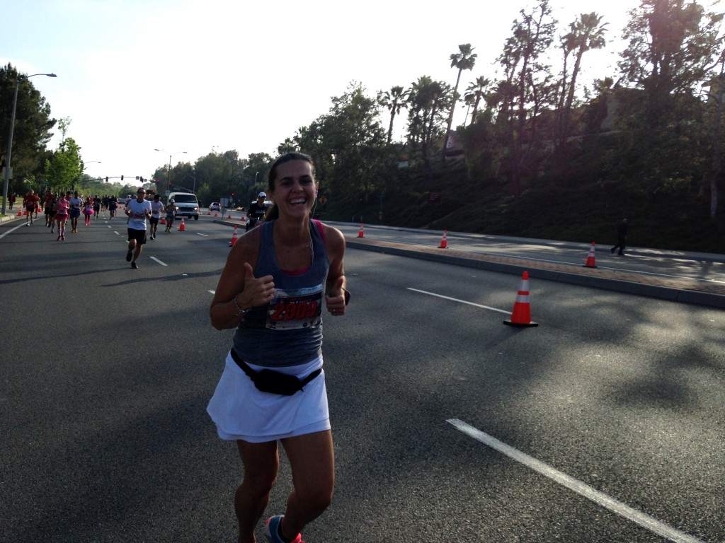 Sandra is all smiles while she runs