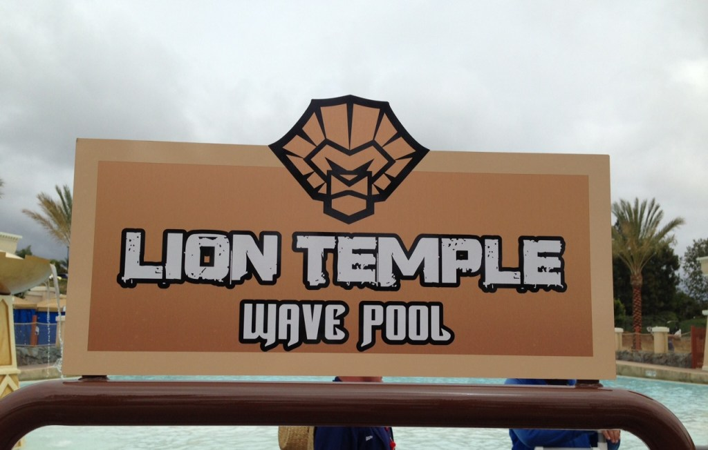 Lion Temple Wave Pool sign replace