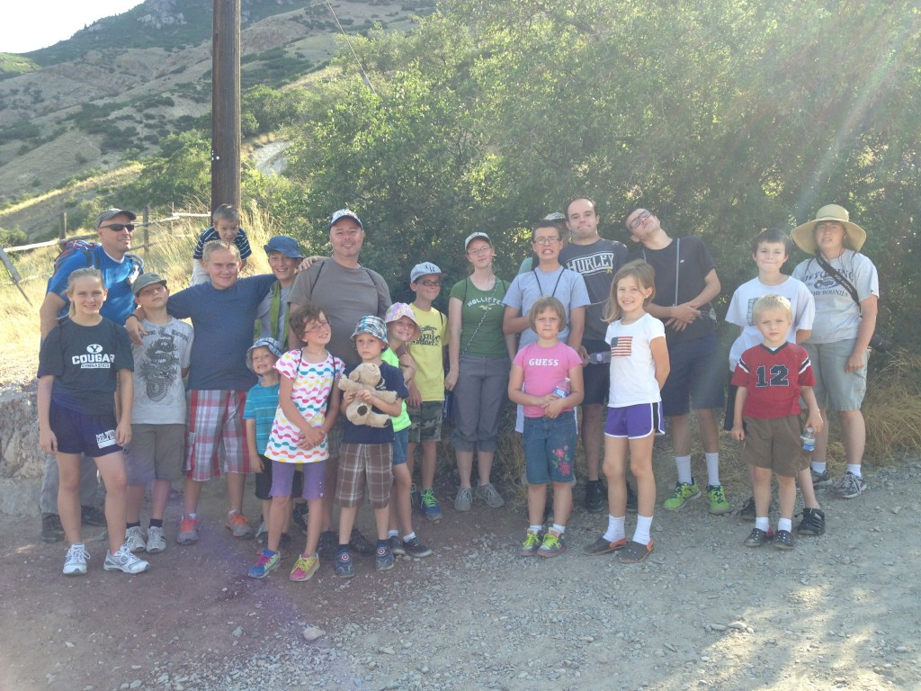 Family getting ready to hike Y Mountain in Utah