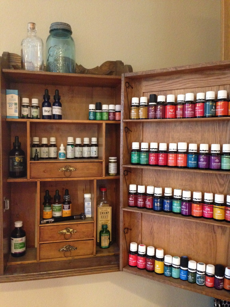 Young Living cabinet of oils