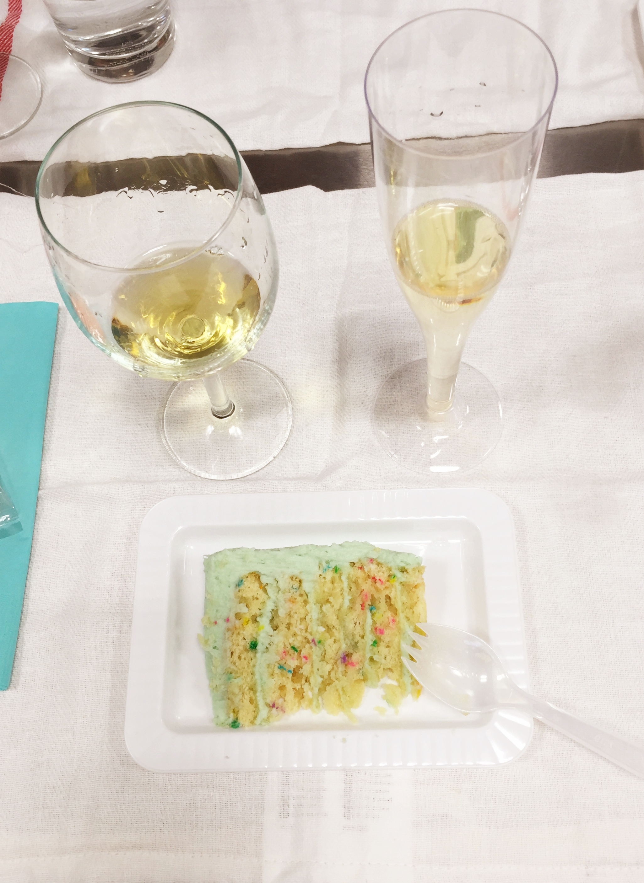 Wine paired with the Vanilla Celebration Cake. Divine!