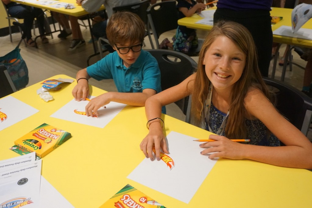 Drawing their own race car at Discovery Cube OC