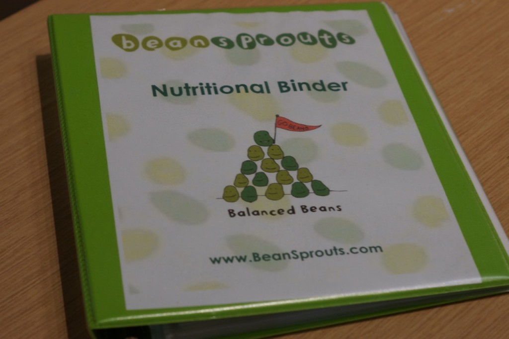 Nutrition Binder at Bean Sprouts #DiscoveryCubeMoms