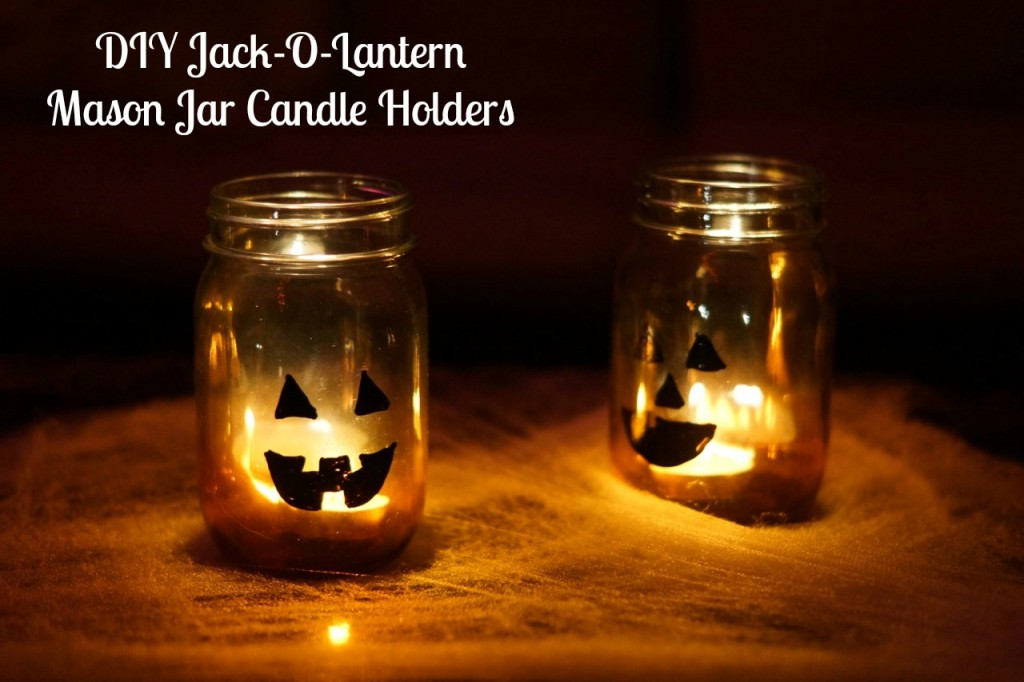 DIY Jack-o-Lantern Mason Jar Candle Holders