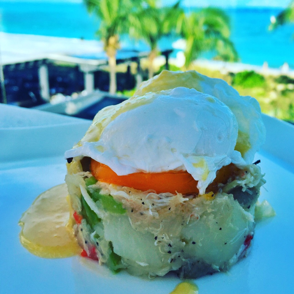 Crab and artichoke eggs Benedict at Beaches Turks and Caicos