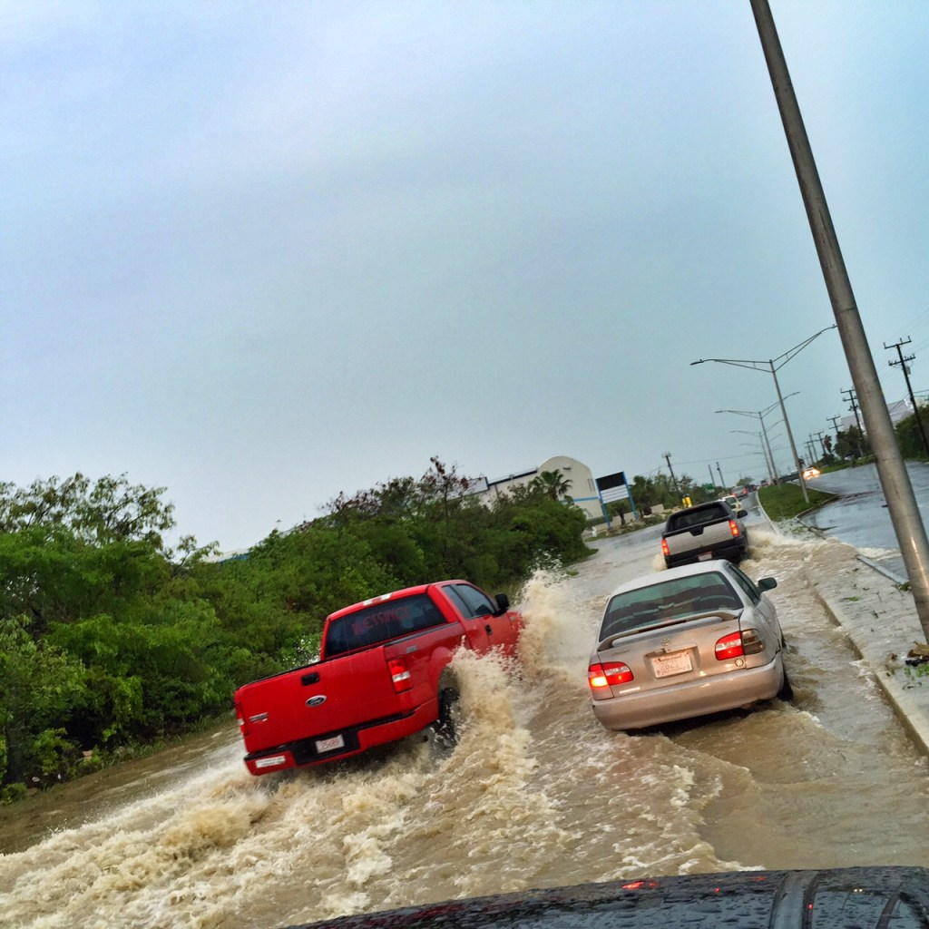 Flooding during a storm in the Turks and Caicos