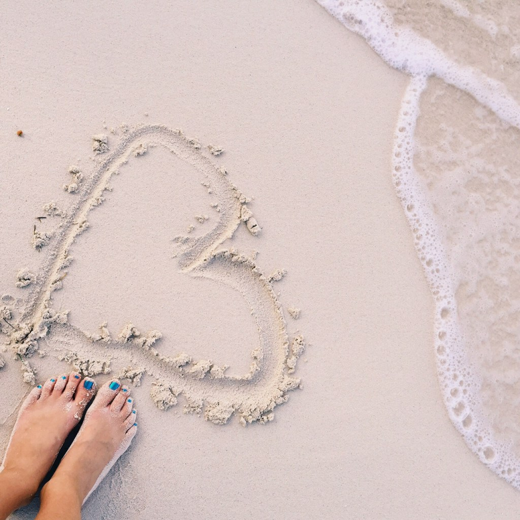 Heart in the sand in the Turks and Caicos #BeachesMoms