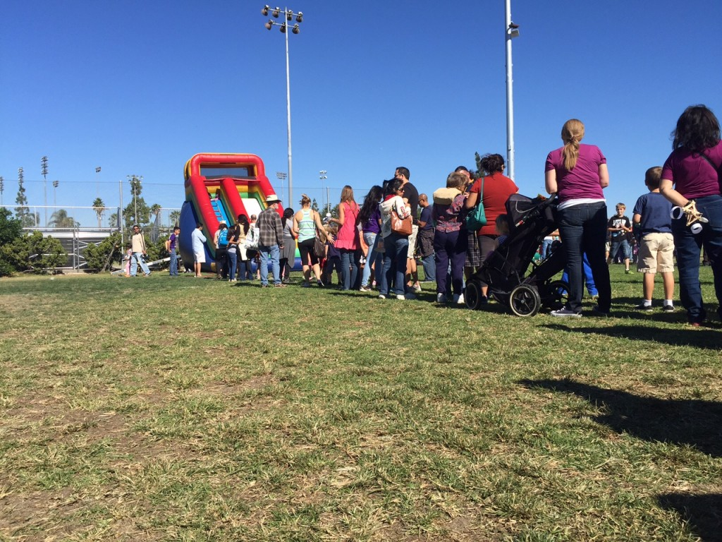 Line to bounce in the bounce house
