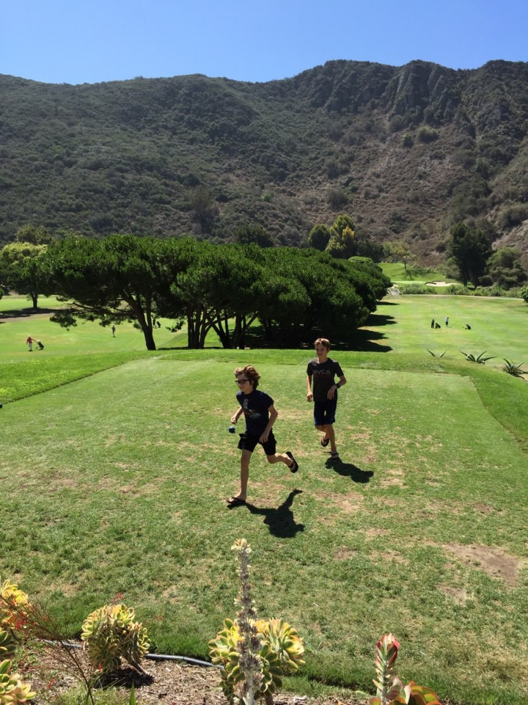 Running on the golf course at The Ranch at Laguna Beach