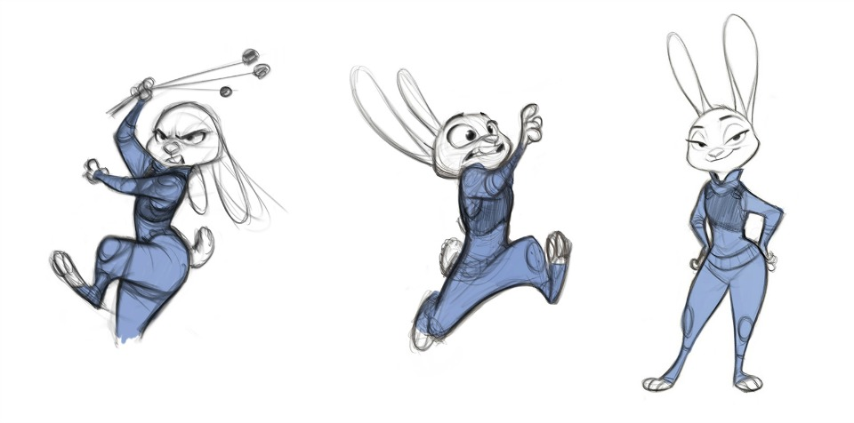 Drawings of Judy in Zootopia