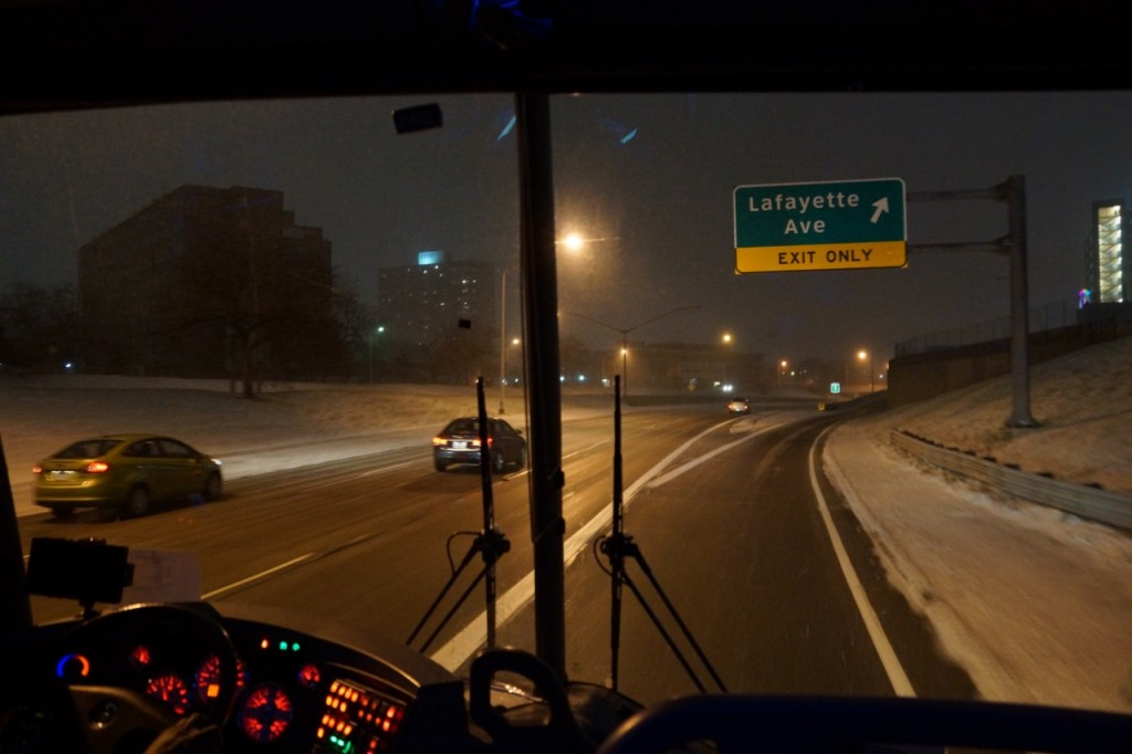 Driving in the snow in Detroit