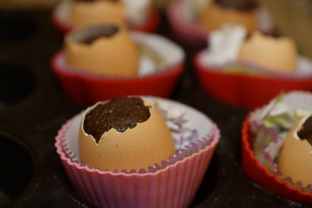 Egg shell cupcakes