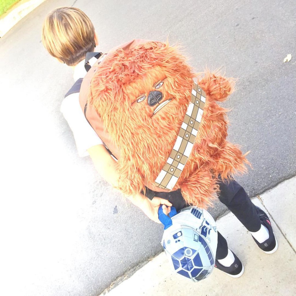 Kid with Star Wars Backpack going to school