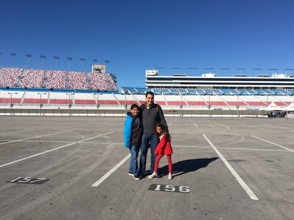 OC Kids on the Nascar Race Track in Vegas