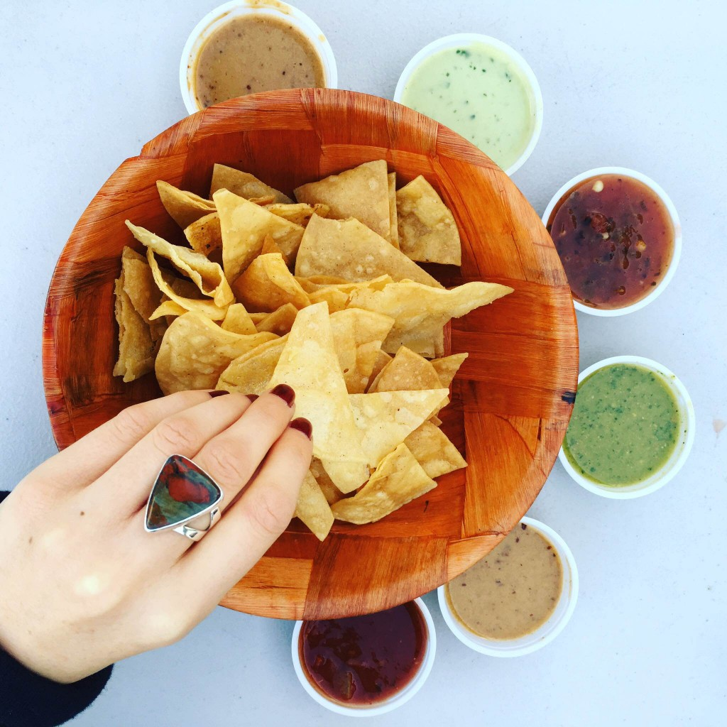 Chips and a variety of salsas