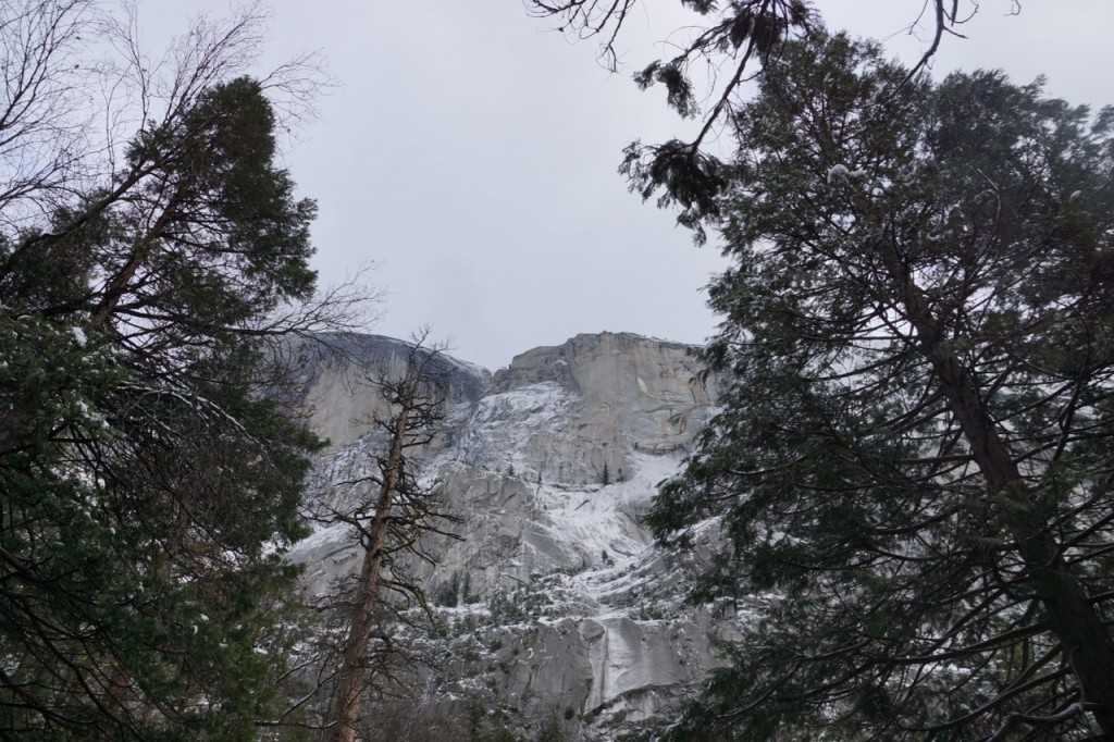 snowing on half dome