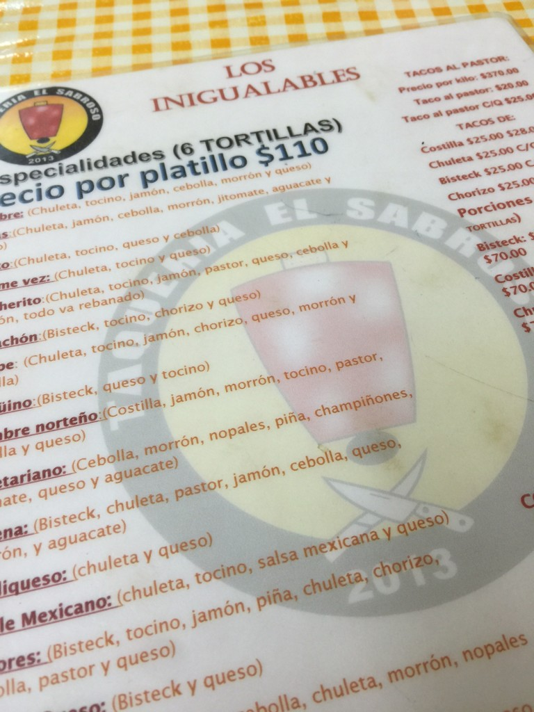 Menu at Taqueria el Sabroso