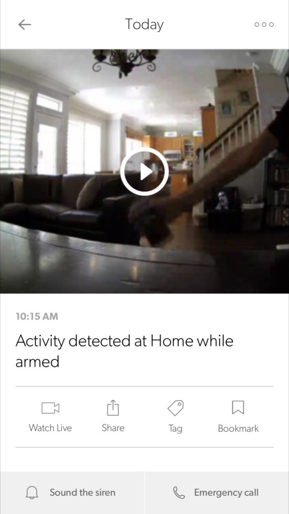 notice of activity detected with Canary Home Security