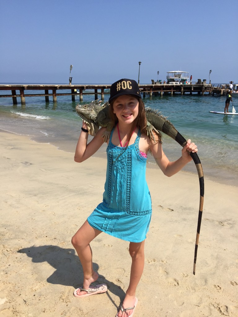 Holding an Iguana at Las Animas Beach