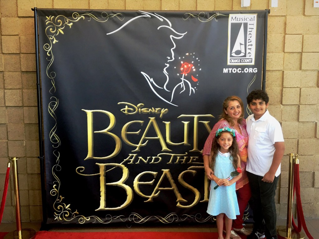 Naz and her kids at the premiere of Beauty and the Beast
