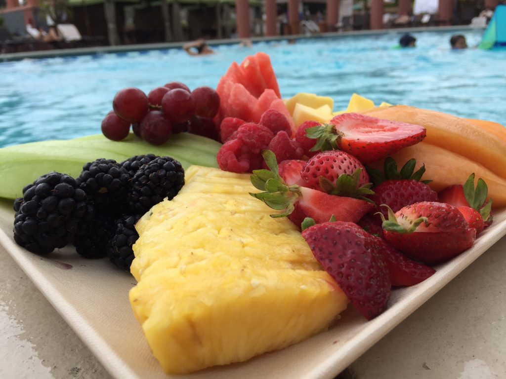 fruit at the pool at Hyatt La Jolla