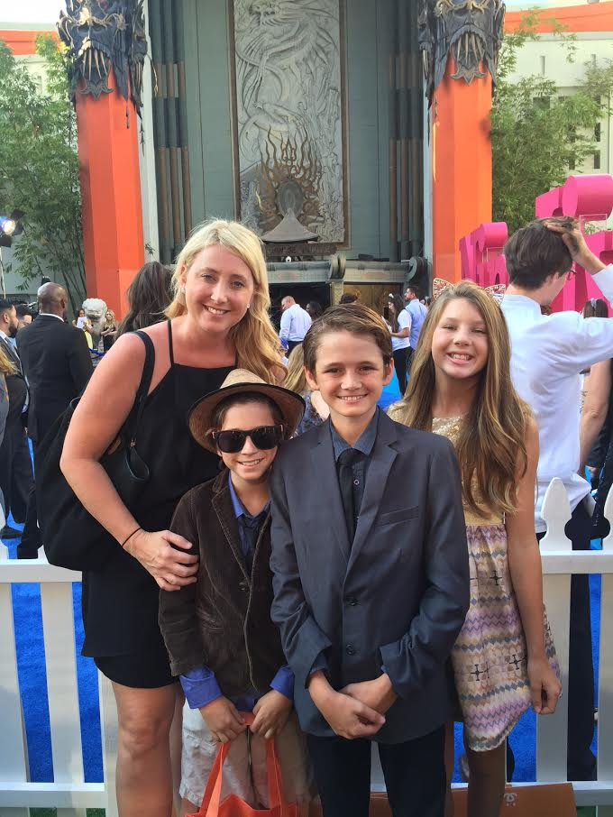 Shelby with her kids at the Nine Lives Premiere