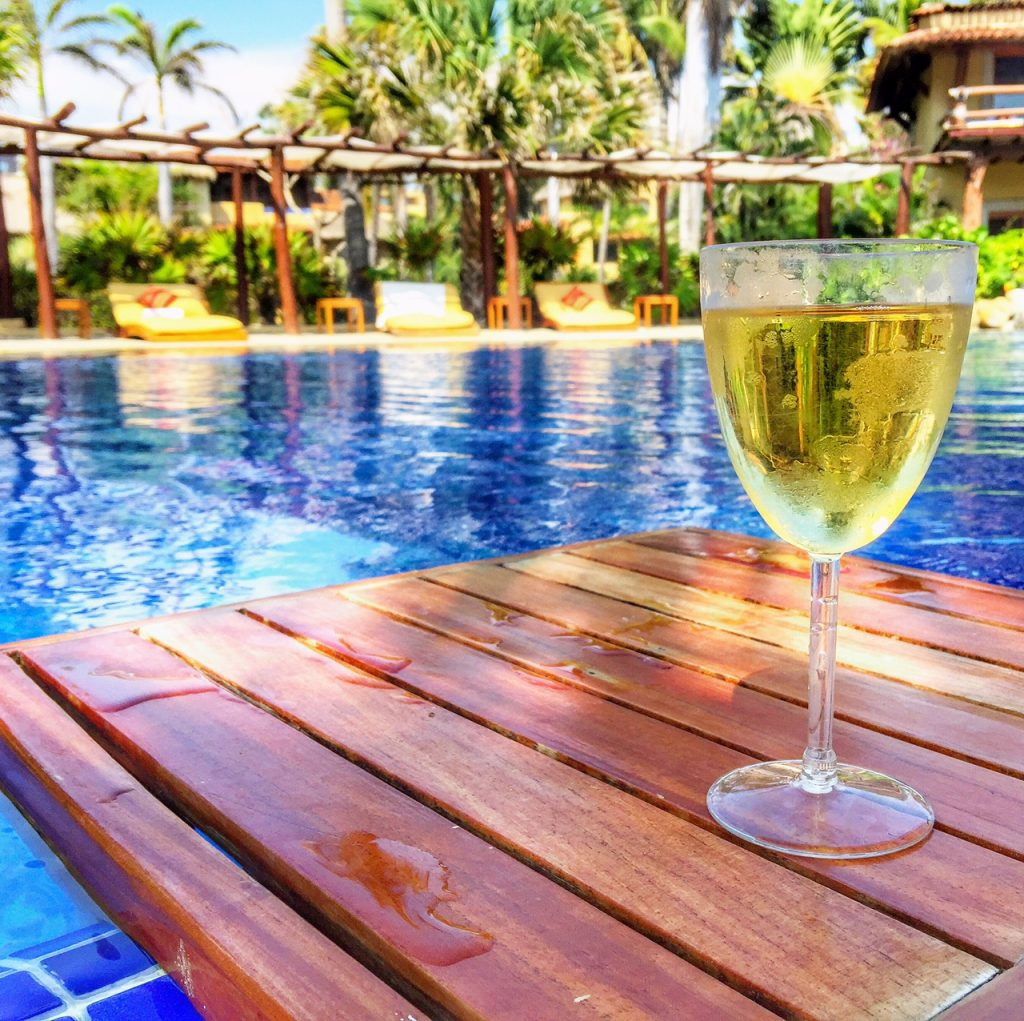 Sipping on wine at Viceroy Zihuatanejo