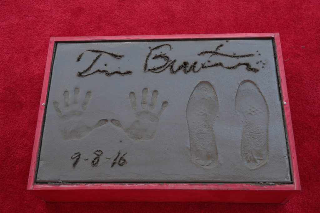 Tim Burton hand and foot print at the TLC Chinese Theatre