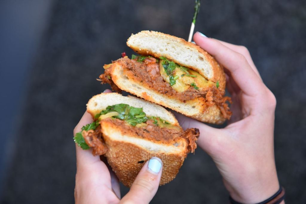 Pulled pork sandwich available for a limited-time at Boudin SF