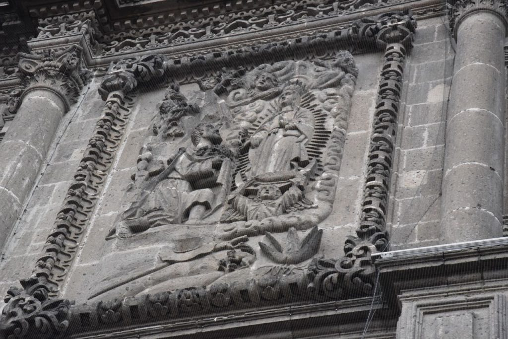 Carving on the Old Basilica of Our Lady of Guadalupe