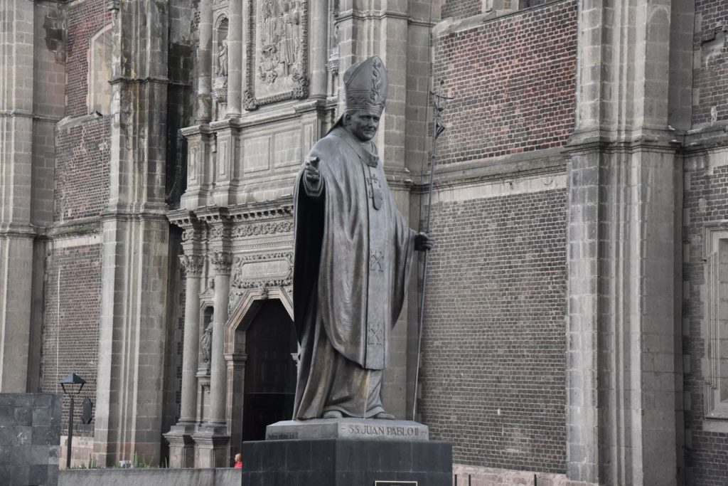 Statue of John Paul II at Basilica of Our Lady of Guadalupe