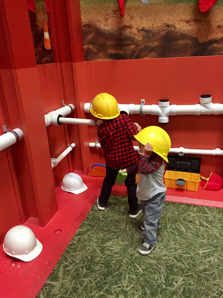 Construction working at Pretend City