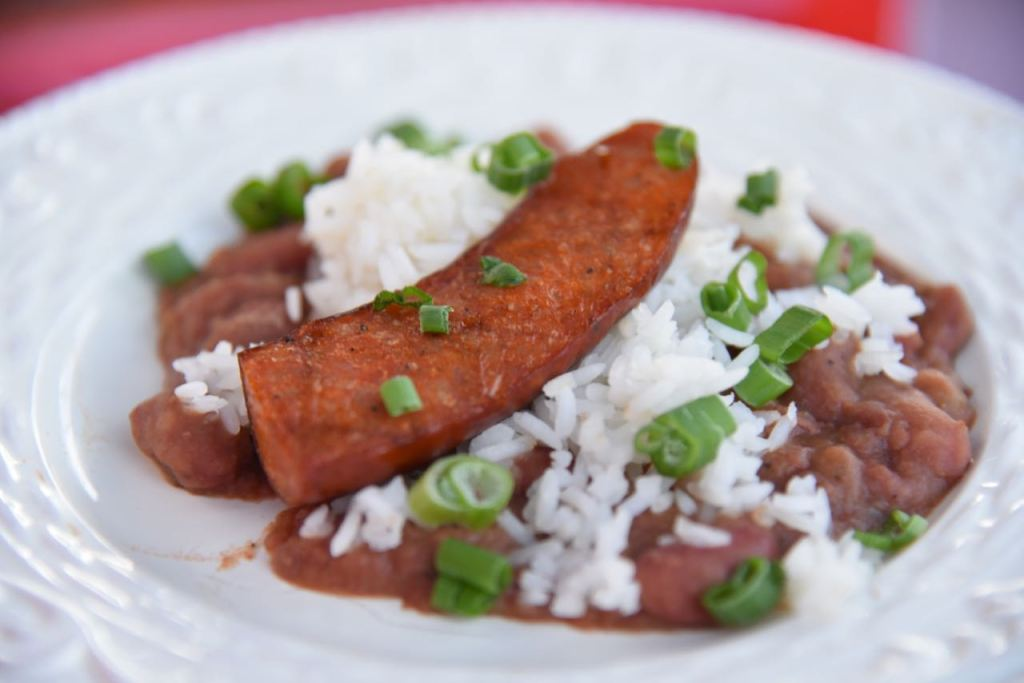 Grilled Spicy Chicken Sausage with red beans and rice at Disney's Festival of Holidays