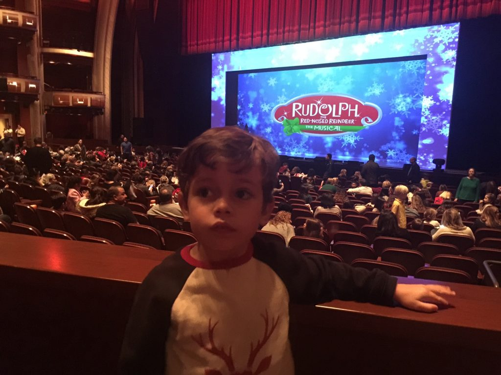 Kids going to see Rudolph the Red-Nosed Reindeer the Musical