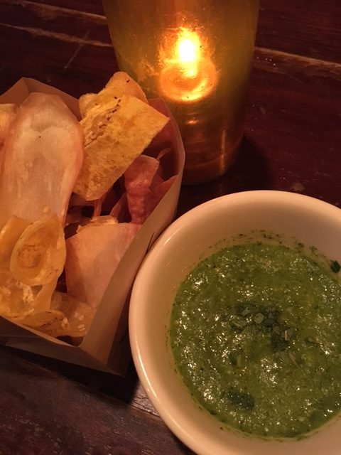 Plantains with Tomatillo Mint Salsa at Habana in Costa Mesa