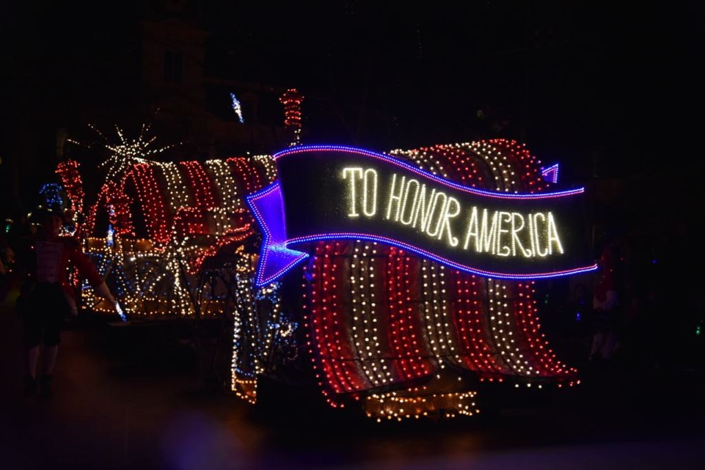 American float in the Main Street Electrical Parade