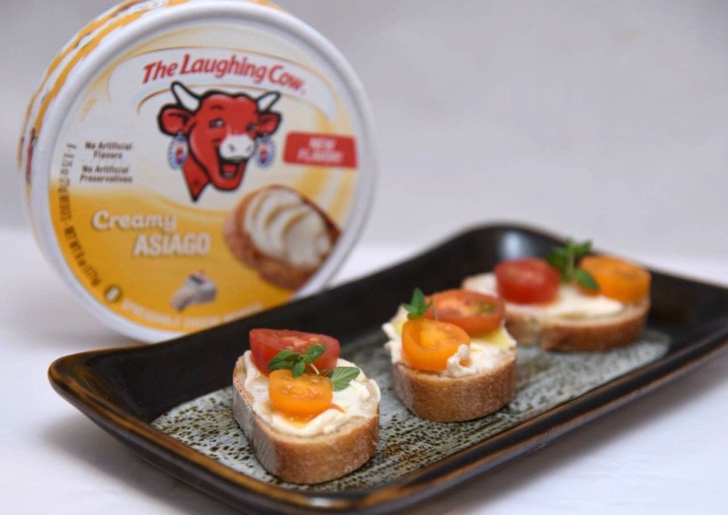 Asiago and Heirloom Tomato Crostini with Laughing Cow Cheese