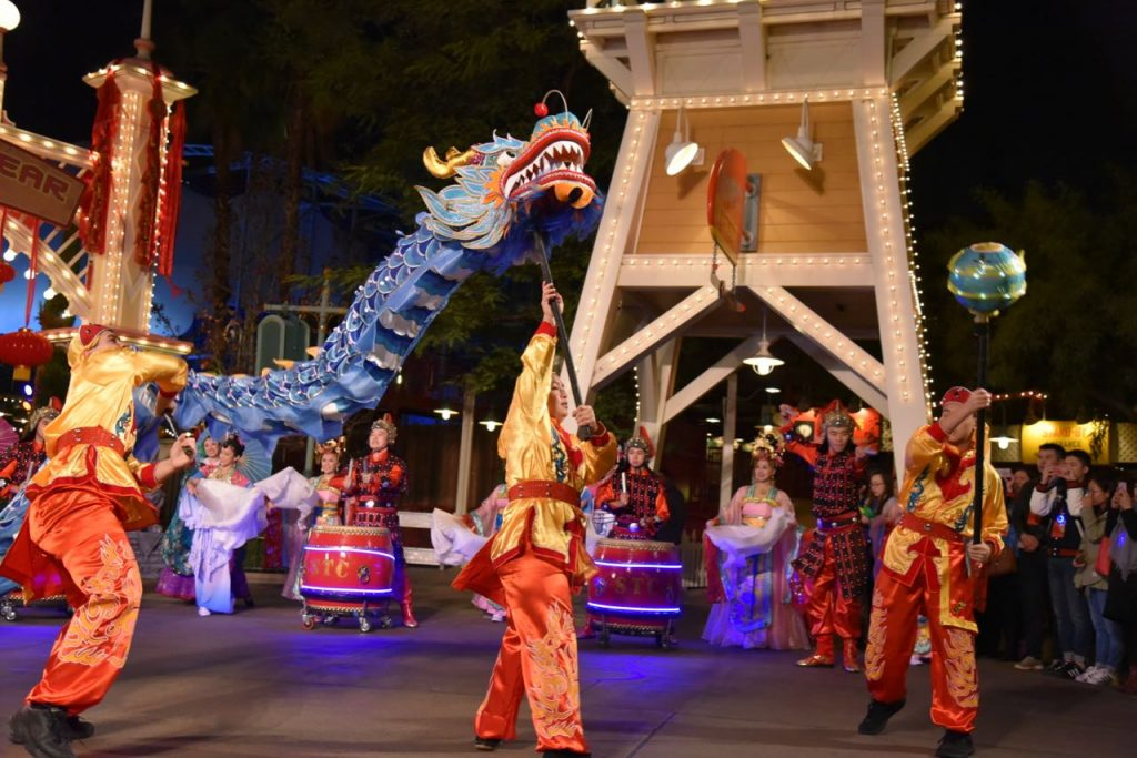 Chinese dragon dancers at Disneyland