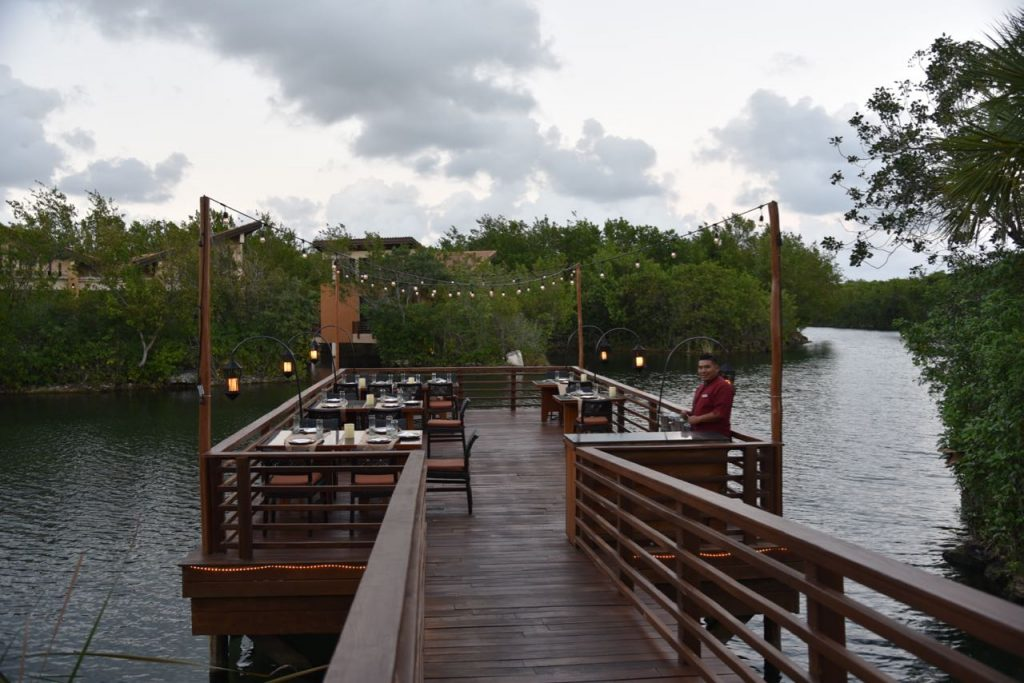 Dining area at Saffron at Banyan Tree Resort in Mayakoba