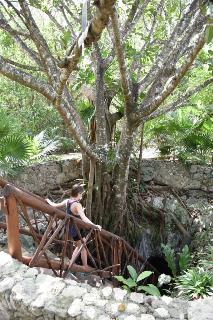 Enjoying the beauty of the cenote in Mayakoba