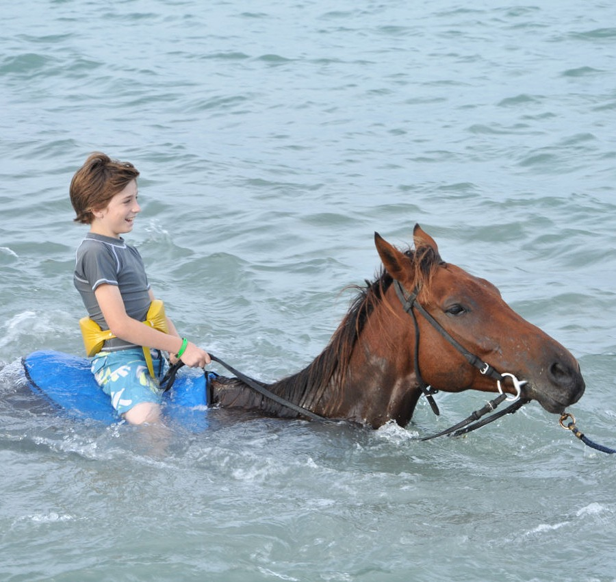 Horse Riding in the water in Jamaica