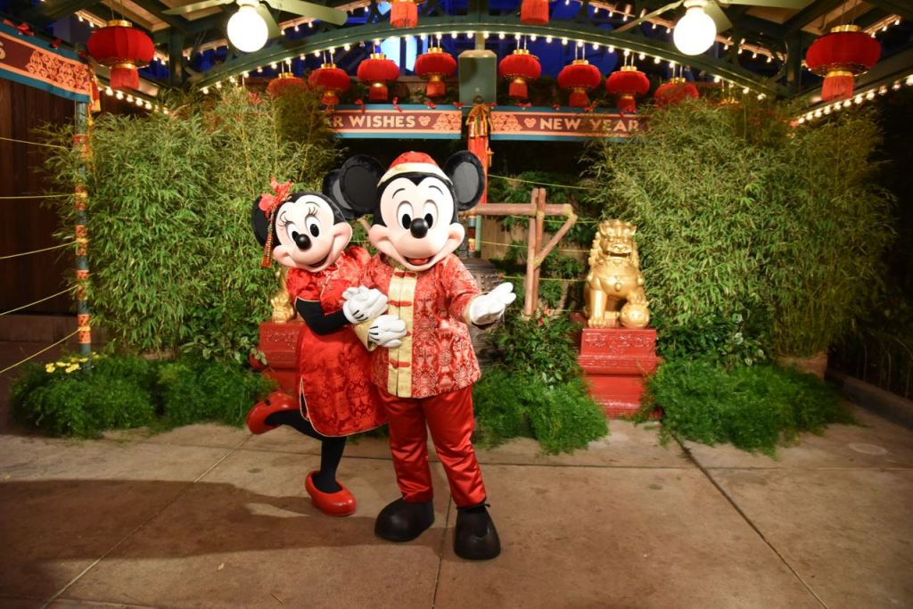 Mickey and Minnie at the Lunar New Year Celebration at Disney California Adventure Park