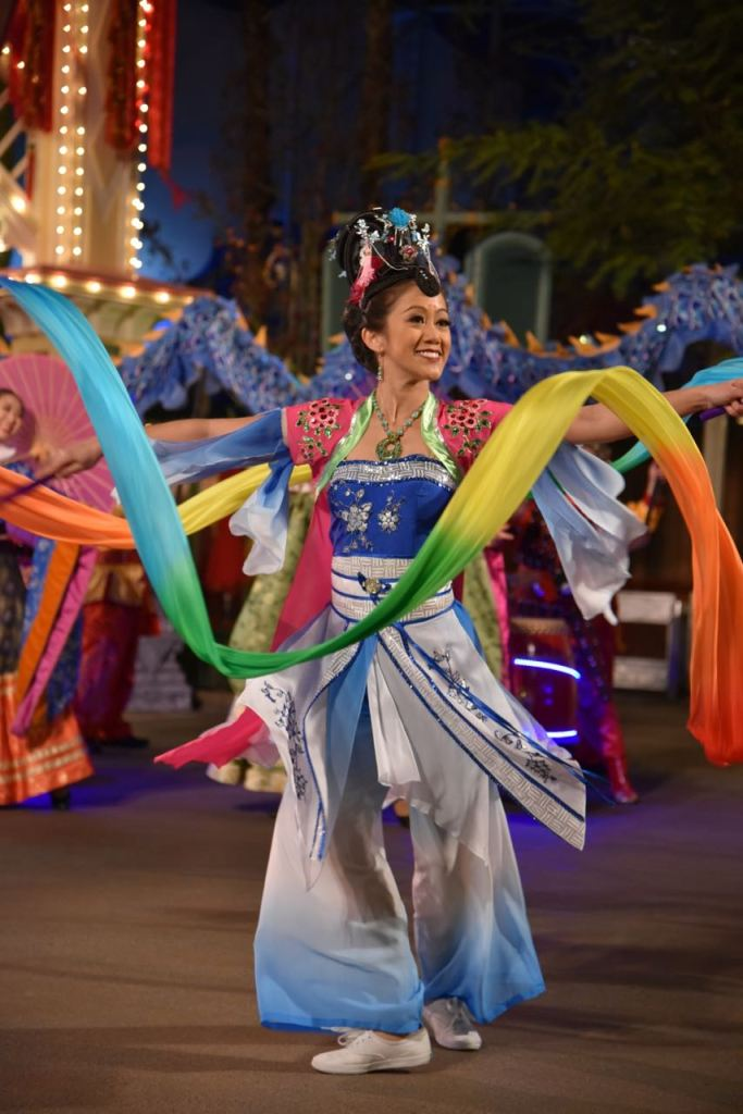 Ribbon dancer in Mulan show at the Lunar New Year at Disney California Adventure Park