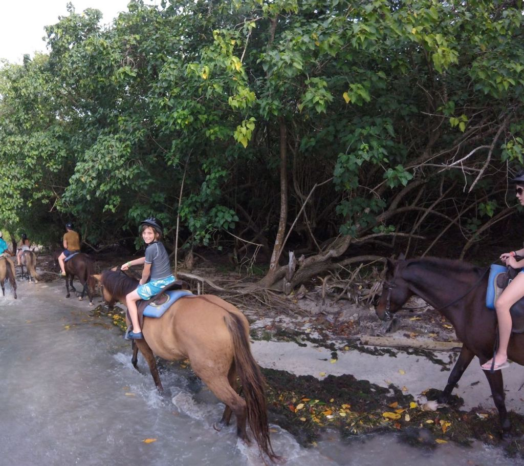 Riding horses in the water in Jamaica
