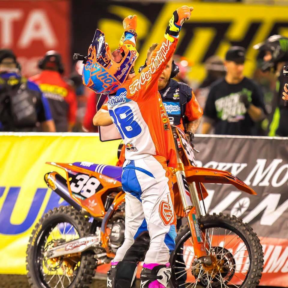 Supercross action at Angel's Stadium