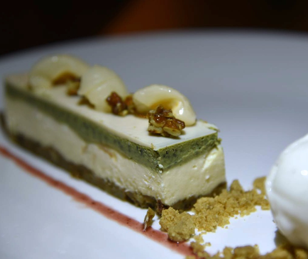 Green Tea cheesecake at El Puerto at the Fairmont Mayakoba