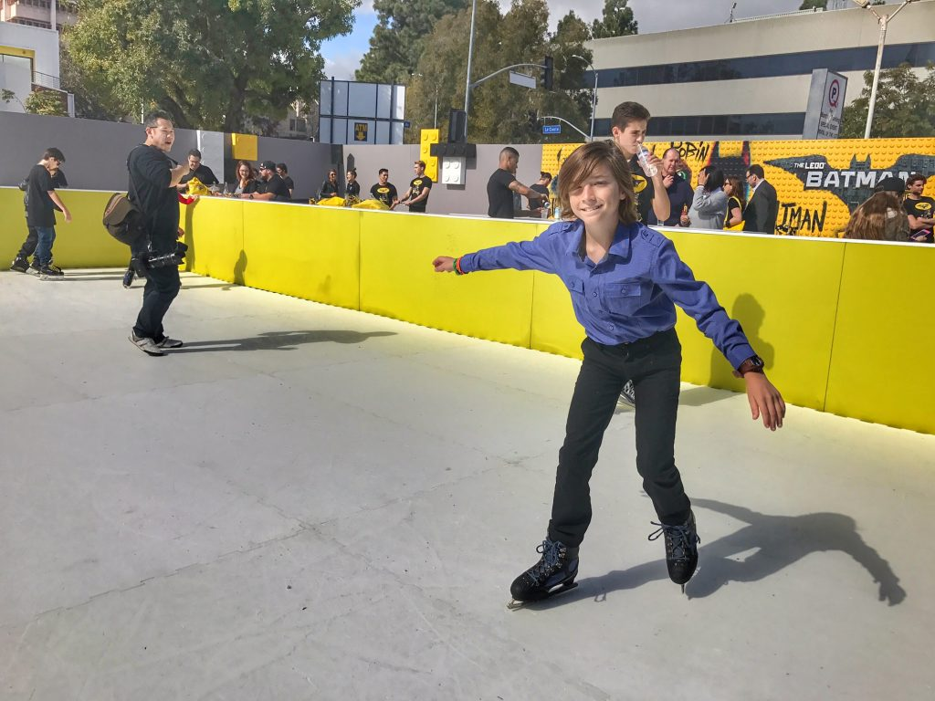 Ice skating at The Lego Batman Movie Premiere