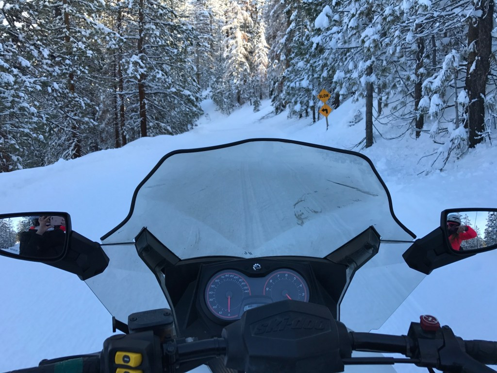 Snowmobile winter wonderland adventure
